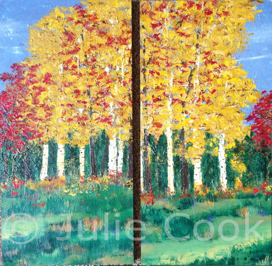 Fall Birch 2 panel diptych